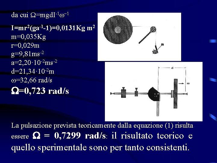 da cui W=mgd. I-1 -1 I=mr 2(ga-1 -1)=0, 0131 Kg m 2 m=0, 035
