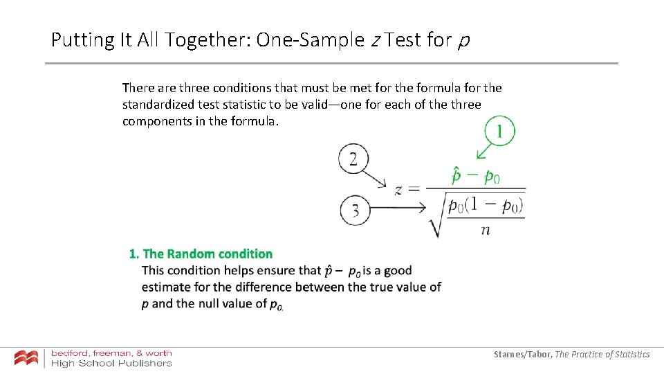 Putting It All Together: One-Sample z Test for p There are three conditions that