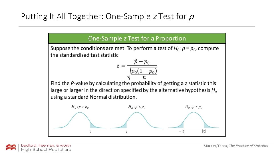 Putting It All Together: One-Sample z Test for p One-Sample z Test for a