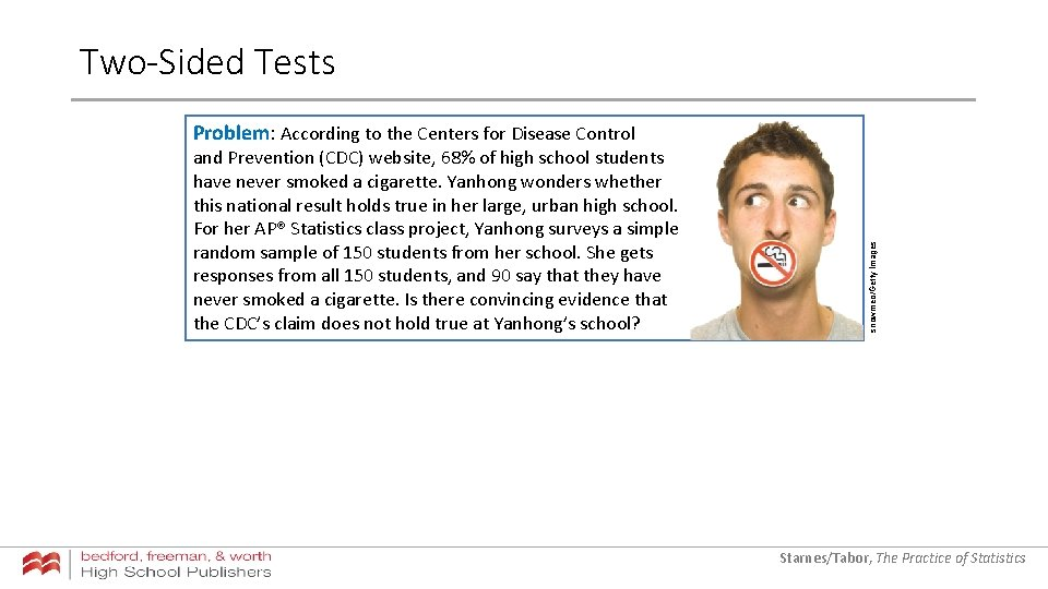 Two-Sided Tests and Prevention (CDC) website, 68% of high school students have never smoked