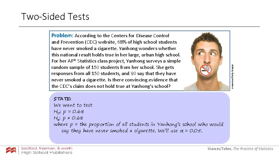 Two-Sided Tests Problem: According to the Centers for Disease Control snowmeo/Getty Images and Prevention