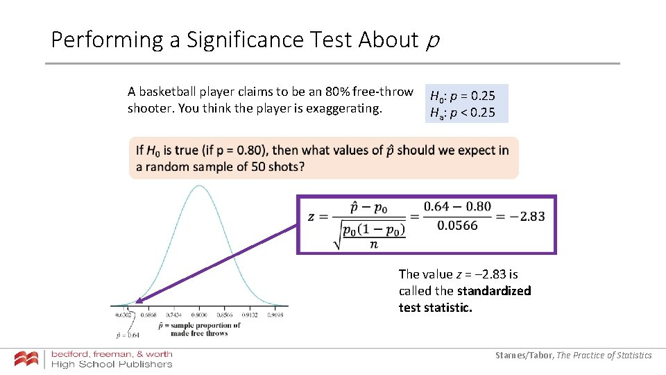 Performing a Significance Test About p A basketball player claims to be an 80%