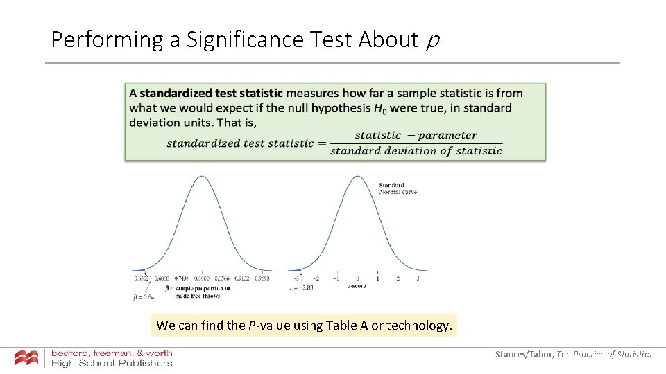 Performing a Significance Test About p We can find the P-value using Table A