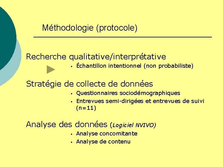 Méthodologie (protocole) Recherche qualitative/interprétative • Échantillon intentionnel (non probabiliste) Stratégie de collecte de données