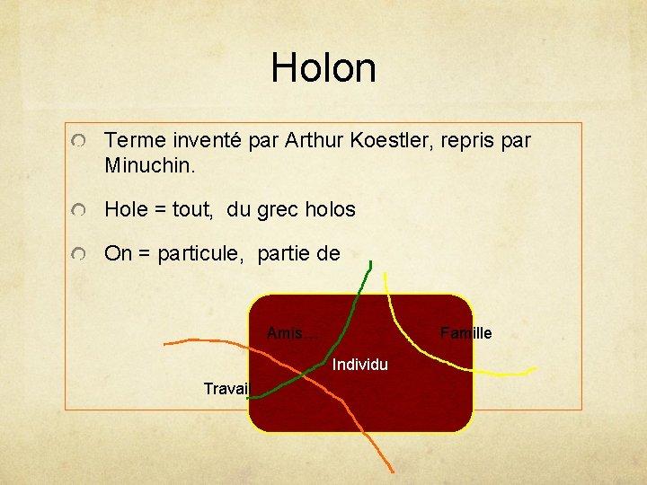 Holon Terme inventé par Arthur Koestler, repris par Minuchin. Hole = tout, du grec
