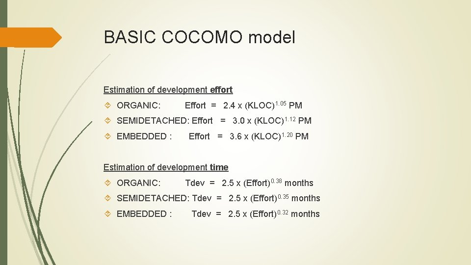 BASIC COCOMO model Estimation of development effort ORGANIC: Effort = 2. 4 x (KLOC)1.