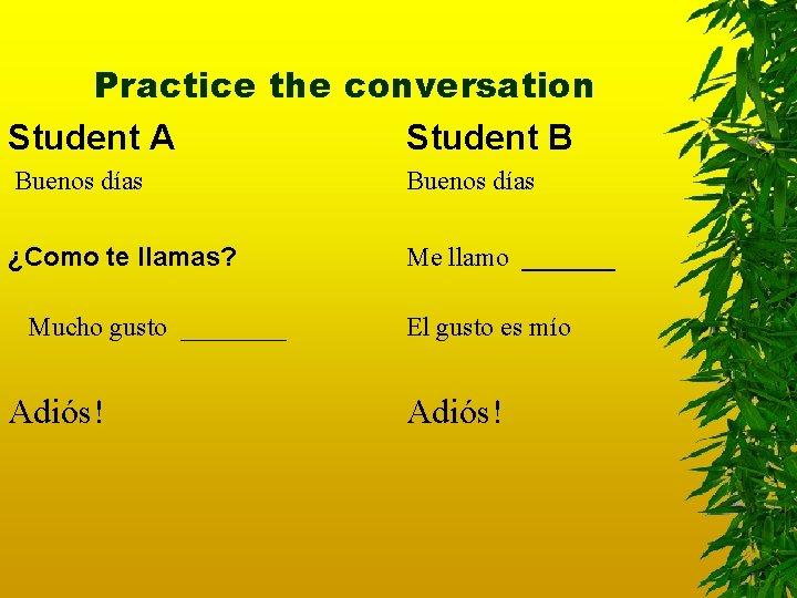 Practice the conversation Student A Student B Buenos días ¿Como te llamas? Me llamo