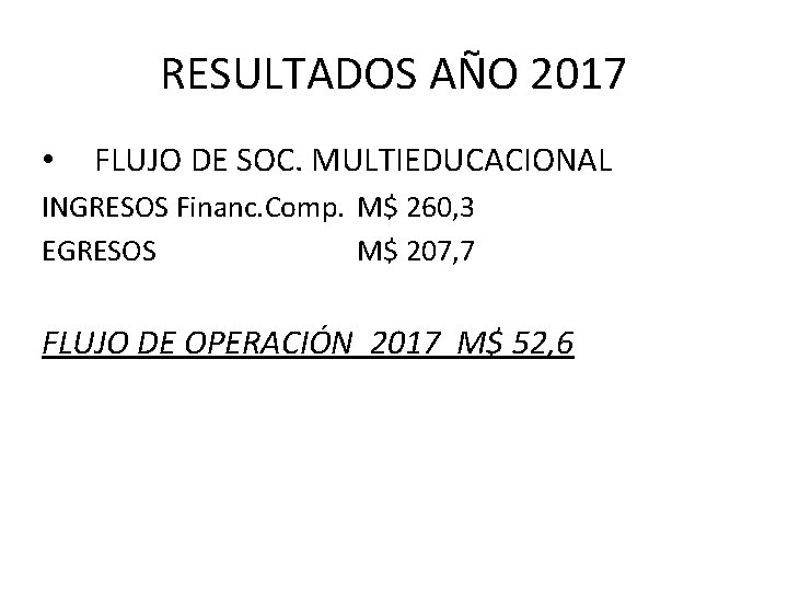 RESULTADOS AÑO 2017 • FLUJO DE SOC. MULTIEDUCACIONAL INGRESOS Financ. Comp. M$ 260, 3
