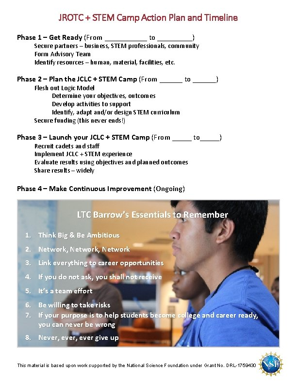 JROTC + STEM Camp Action Plan and Timeline Phase 1 – Get Ready (From