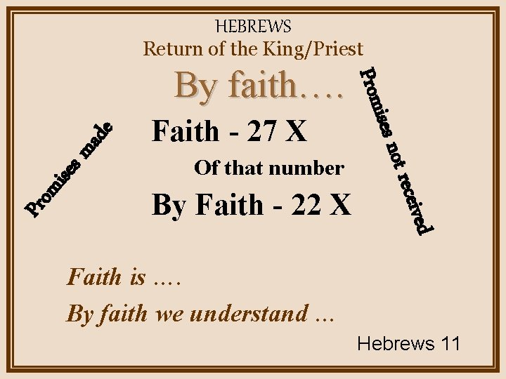 HEBREWS Return of the King/Priest ma es mis Of that number ived By Faith