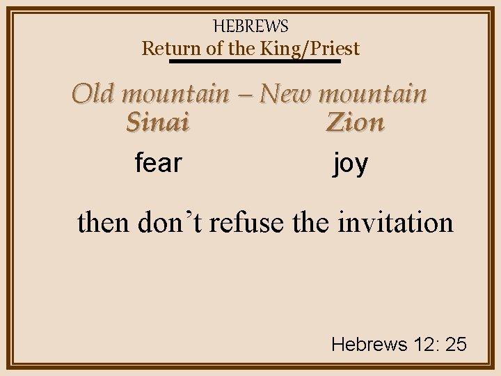 HEBREWS Return of the King/Priest Old mountain – New mountain Sinai Zion joy fear