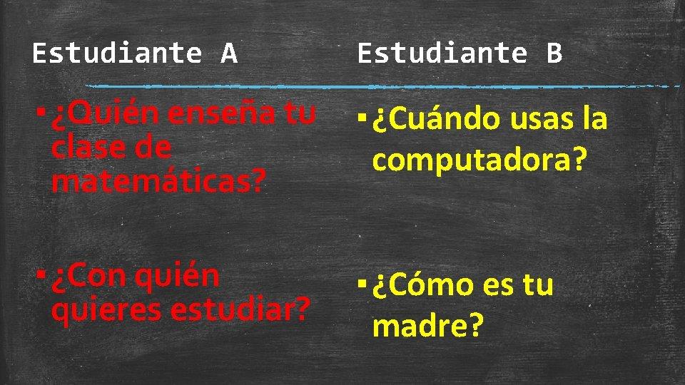Estudiante A Estudiante B ▪ ¿Quién enseña tu clase de matemáticas? ▪ ¿Cuándo usas