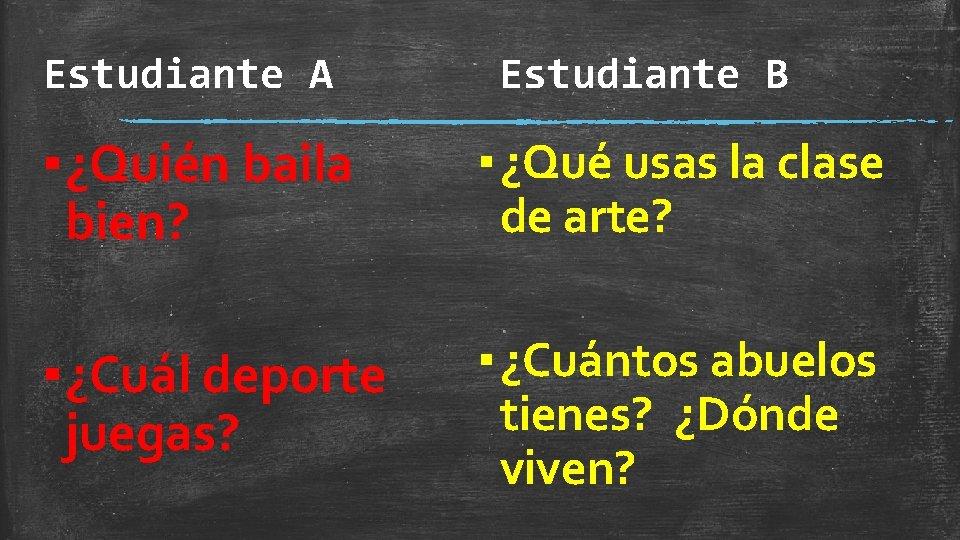 Estudiante A Estudiante B ▪ ¿Quién baila bien? ▪ ¿Qué usas la clase de
