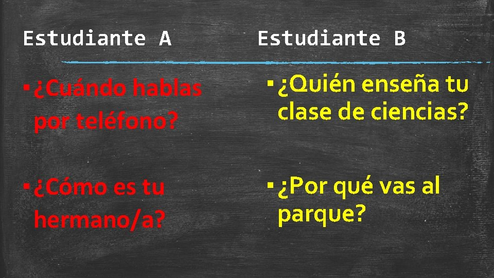 Estudiante A Estudiante B ▪ ¿Cuándo hablas por teléfono? ▪ ¿Quién enseña tu clase