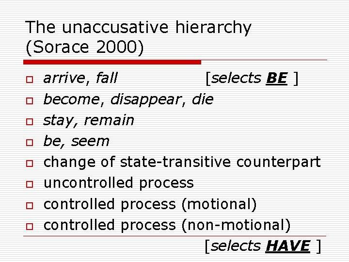 The unaccusative hierarchy (Sorace 2000) o o o o arrive, fall [selects BE ]