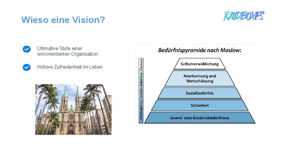 Wieso eine Vision? Ultimative Stufe einer sinnorientierten Organisation Höhere Zufriedenheit im Leben 1
