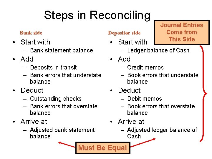 Steps in Reconciling Bank side Depositor side • Start with – Bank statement balance