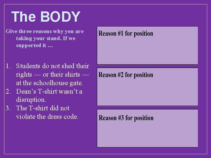 The BODY Give three reasons why you are taking your stand. If we supported
