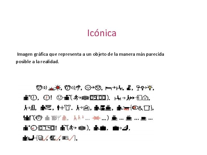Icónica Imagen gráfica que representa a un objeto de la manera más parecida posible