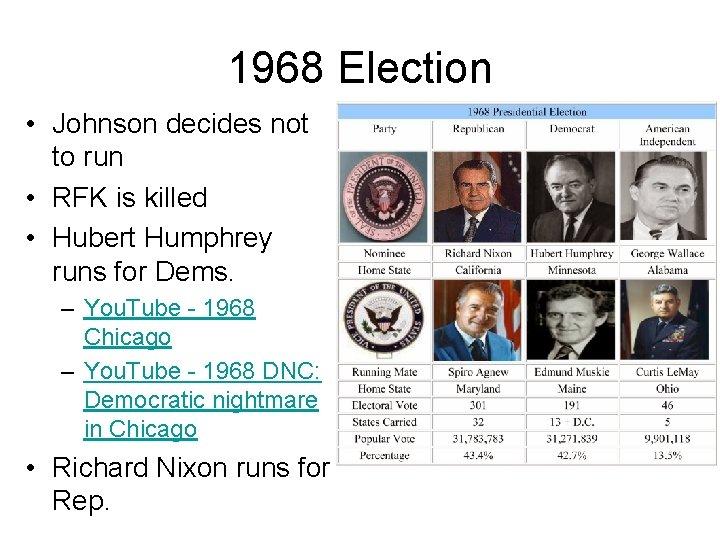 1968 Election • Johnson decides not to run • RFK is killed • Hubert