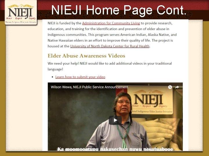 NIEJI Home Page Cont.
