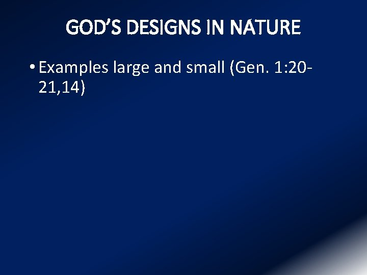 GOD'S DESIGNS IN NATURE • Examples large and small (Gen. 1: 2021, 14)