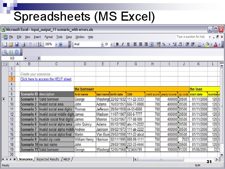 Spreadsheets (MS Excel) 31