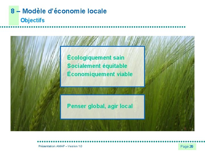 8 – Modèle d'économie locale Objectifs Écologiquement sain Socialement équitable Économiquement viable Penser global,