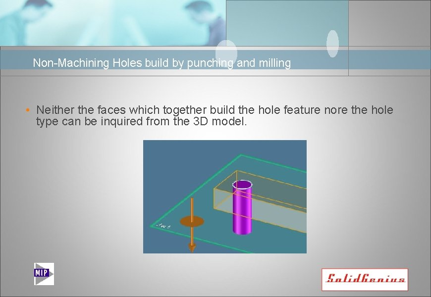 Non-Machining Holes build by punching and milling • Neither the faces which together build