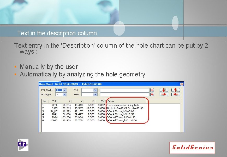 Text in the description column Text entry in the 'Description' column of the hole