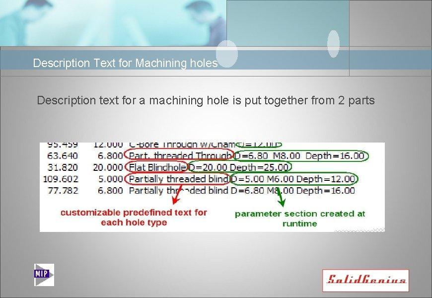 Description Text for Machining holes Description text for a machining hole is put together