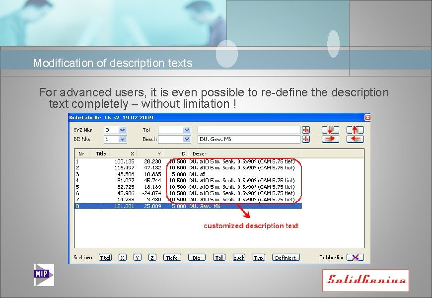 Modification of description texts For advanced users, it is even possible to re-define the