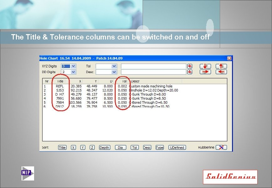 The Title & Tolerance columns can be switched on and off