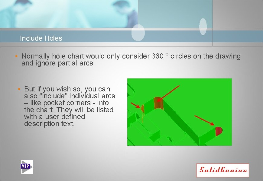 Include Holes • Normally hole chart would only consider 360 ° circles on the