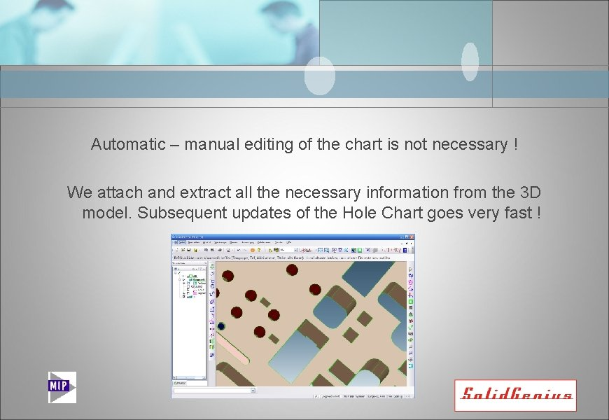 Automatic – manual editing of the chart is not necessary ! We attach and