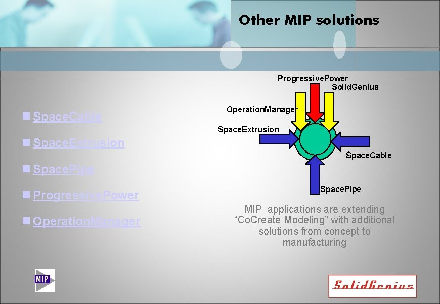Other MIP solutions Progressive. Power Solid. Genius n Space. Cable Operation. Manager Space. Extrusion