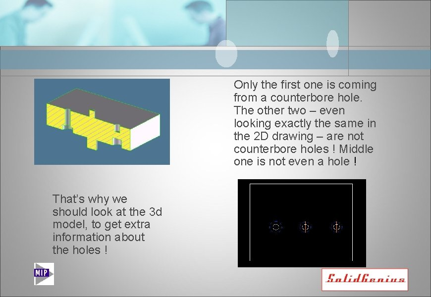 Only the first one is coming from a counterbore hole. The other two –