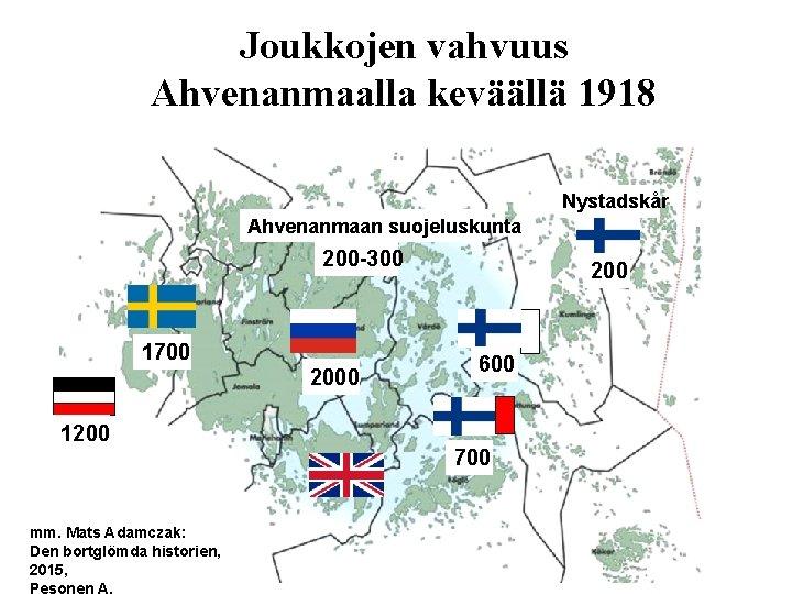 Joukkojen vahvuus Ahvenanmaalla keväällä 1918 Nystadskår Ahvenanmaan suojeluskunta 200 -300 1700 200 600 1200