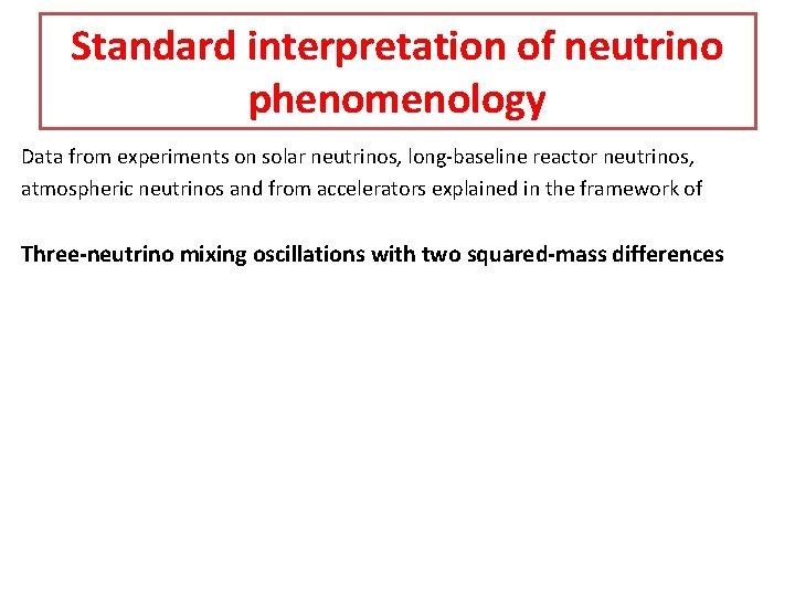 Standard interpretation of neutrino phenomenology Data from experiments on solar neutrinos, long-baseline reactor neutrinos,