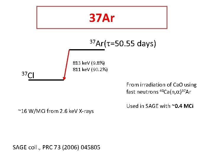 37 Ar(t=50. 55 37 Cl days) 813 ke. V (9. 8%) 811 ke. V