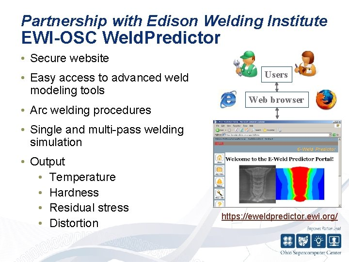 Partnership with Edison Welding Institute EWI-OSC Weld. Predictor • Secure website • Easy access