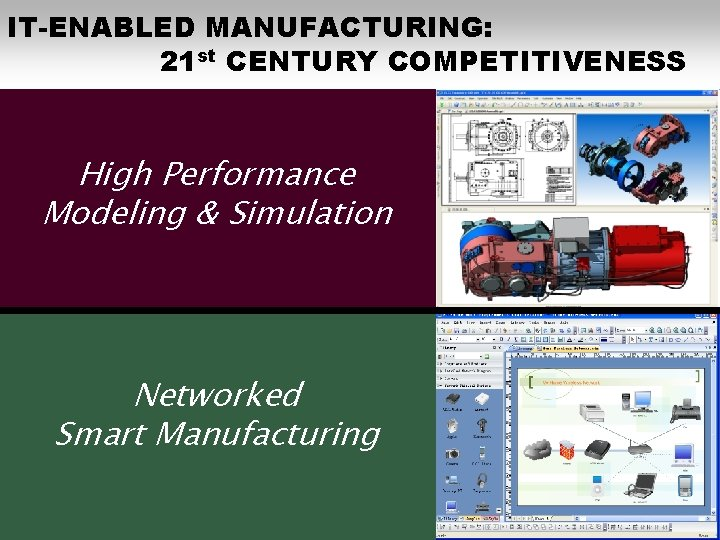 IT-ENABLED MANUFACTURING: 21 st CENTURY COMPETITIVENESS High Performance Modeling & Simulation Networked Smart Manufacturing