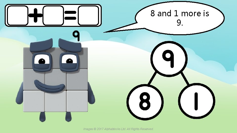 8 and 1 more is 9. A blue dot in the corner of a