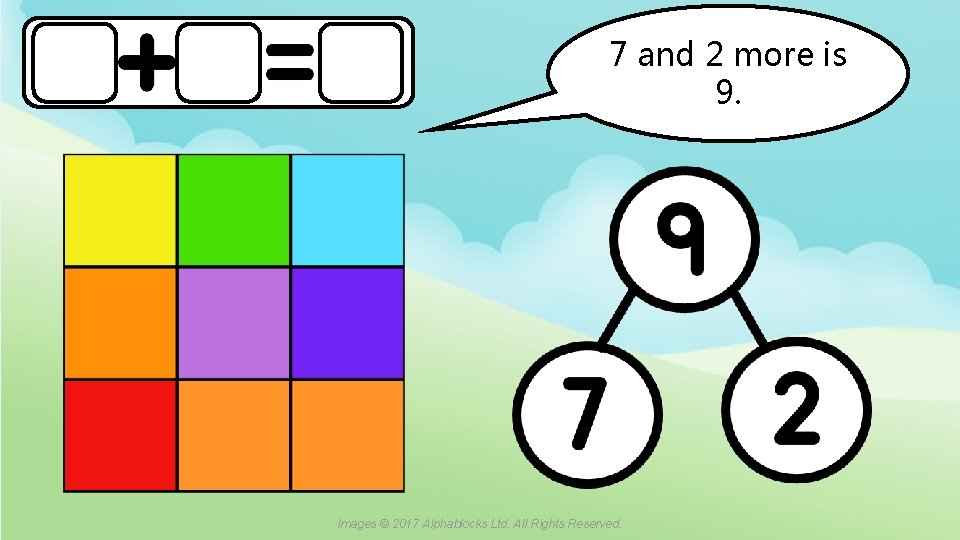 7 and 2 more is 9. A blue dot in the corner of a
