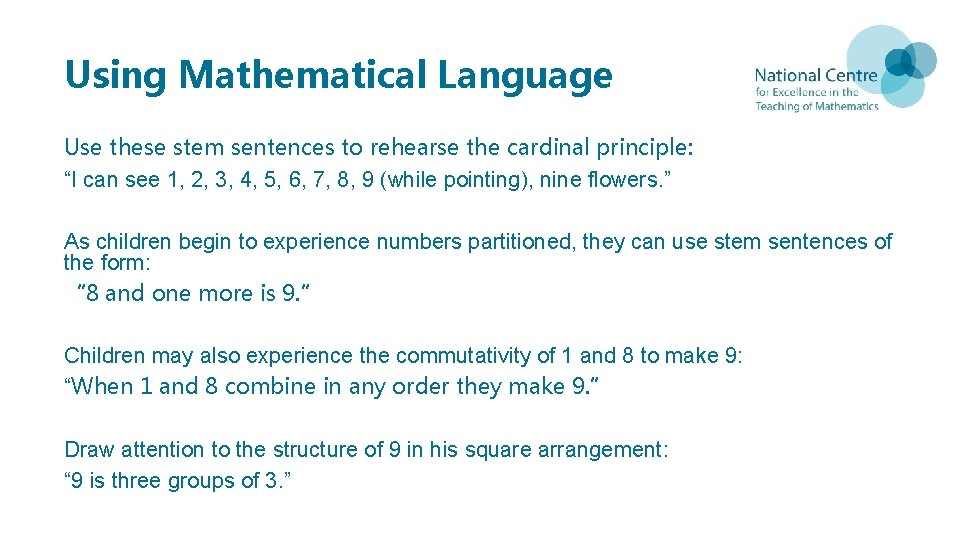 """Using Mathematical Language Use these stem sentences to rehearse the cardinal principle: """"I can"""