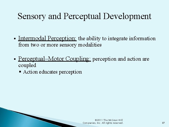 Sensory and Perceptual Development Intermodal Perception: the ability to integrate information from two or