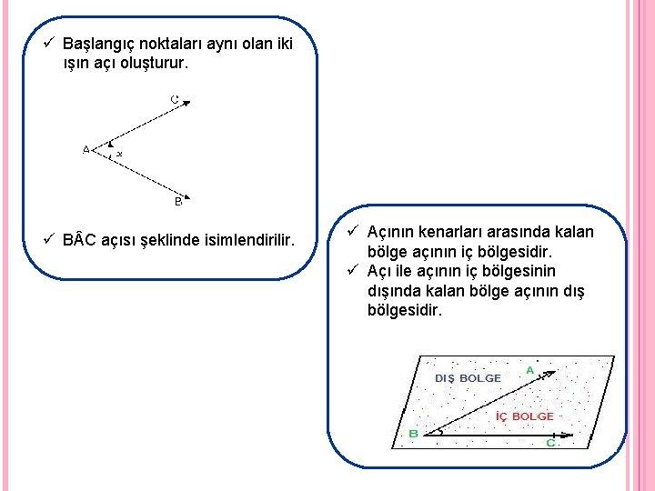 ü Başlangıç noktaları aynı olan iki ışın açı oluşturur. ü B C açısı şeklinde