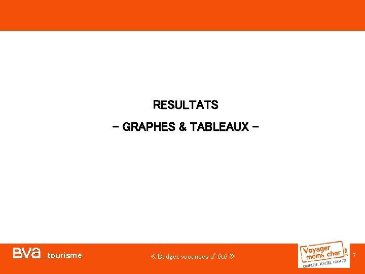 RESULTATS - GRAPHES & TABLEAUX - tourisme « Budget vacances d'été » 7