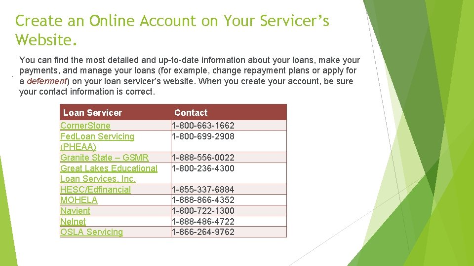 Create an Online Account on Your Servicer's Website. . You can find the most
