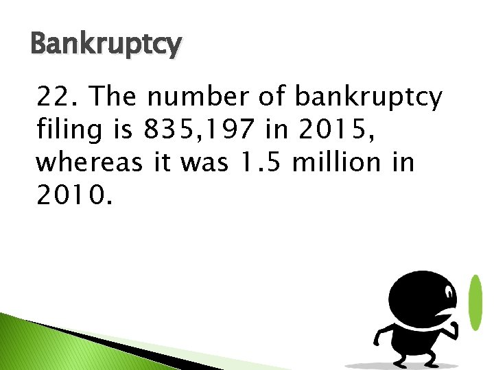 Bankruptcy 22. The number of bankruptcy filing is 835, 197 in 2015, whereas it